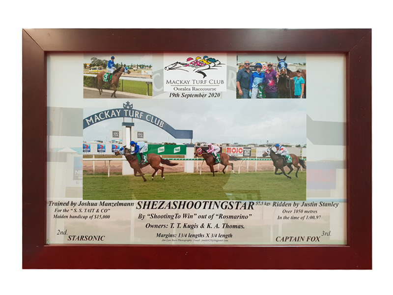 Framed Race Day Photo of owners and trainers
