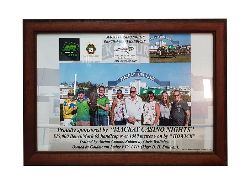 Frame Race Day Photo of race sponsor